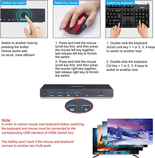 with 4 USB Cable,1 Switch Button/&Cable,1 Power Cable KVM Switch HDMI 4 Port Box,4 in 1 Out KVM Switch 4 Computers Share Keyboard Mouse Printer Monitor Support HUD 4K@60Hz for Laptop,PC,Xbox HDTV