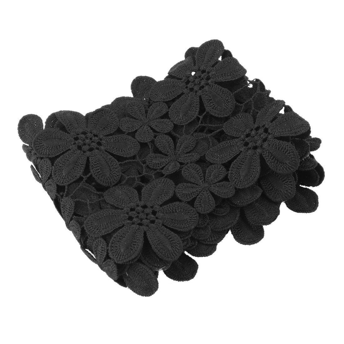 sourcingmap/® Fiore poliestere Design incavate DIY bordo vestiti scollatura Decoro e pizzo nero