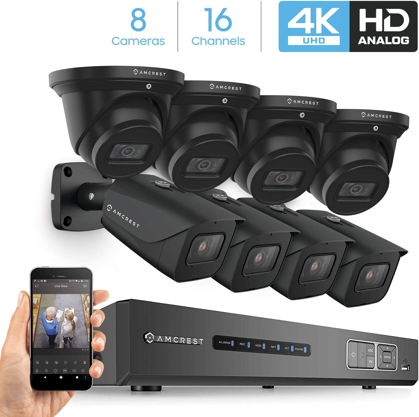 Amcrest 4K Security Camera System 16CH 8MP Video DVR with 8X 4K 8-Megapixel Indoor Outdoor Weatherproof IP67 Bullet & Dome Cameras, 2.8mm Lens, HDD Not Included, for Home Business (AMDV8M16-4B4D-B)