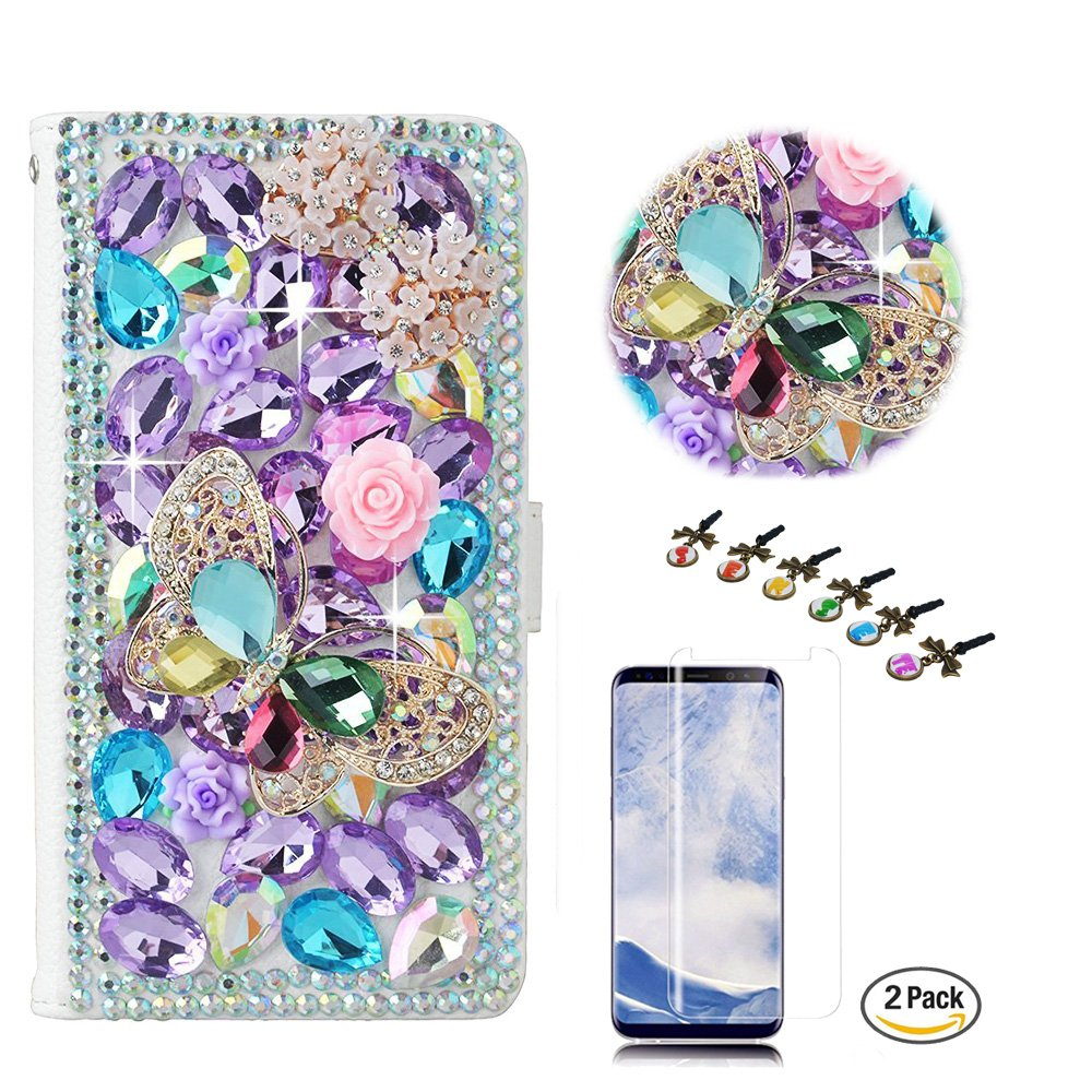 STENES Google Pixel 2 XL Case - STYLISH - 3D Handmade Bling Crystal Butterfly Bows Flower Design Wallet Credit Card Slots Fold Media Stand Leather Cover Case With Screen Protector - Light Purple