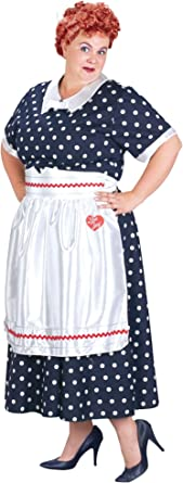Womens I Love Lucy Classic Red Polka Dot 50s Housewife Dress Costume