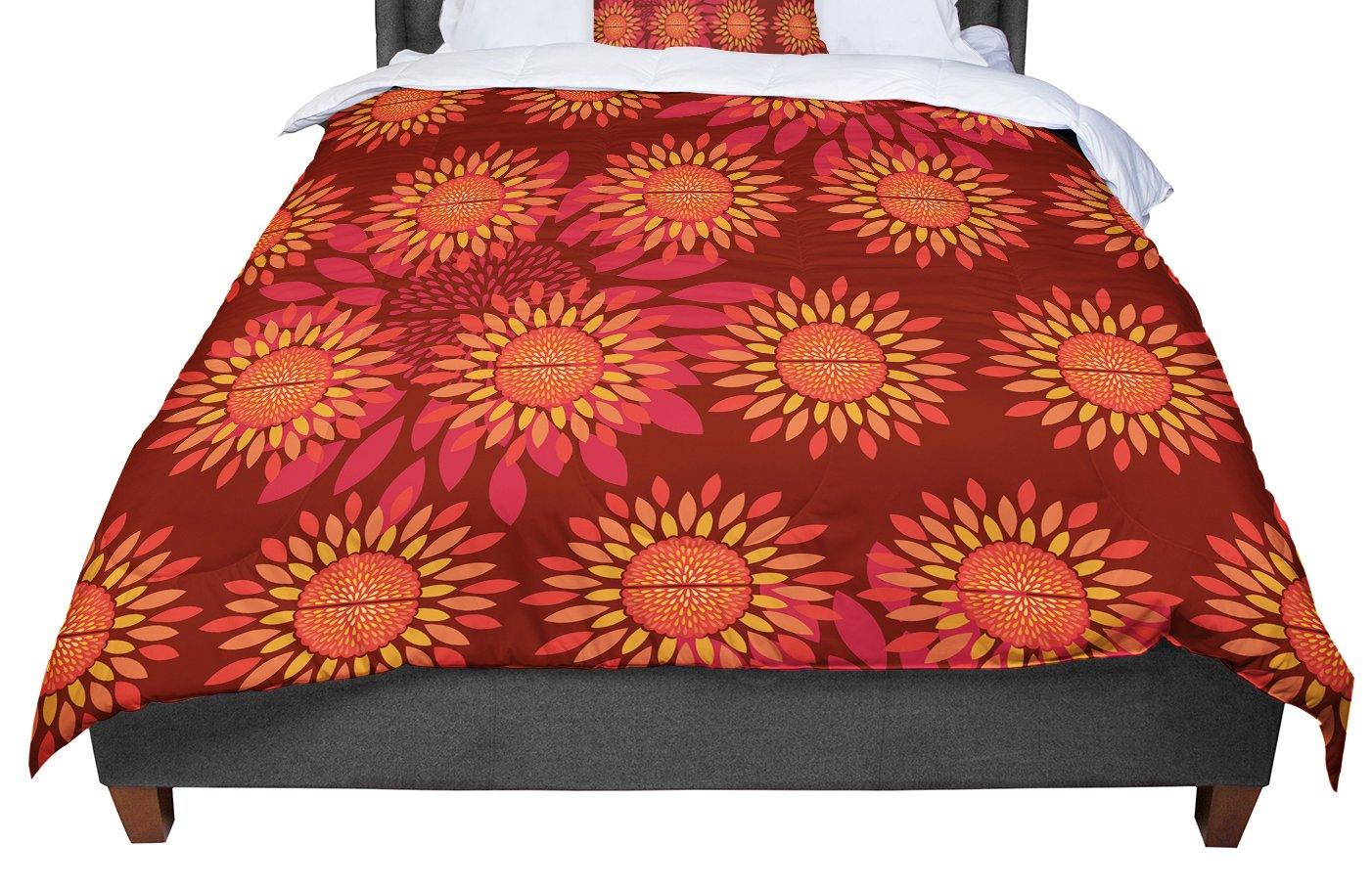 104 X 88 KESS InHouse Miranda Mol Orange on Black Tile King Cal King Comforter
