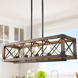 Kitchen Island Lighting, 5-Light Dining Room Chandelier Farmhouse Light Fixtures Wood Pendant Lighting for Living Room,Foyer,Bars