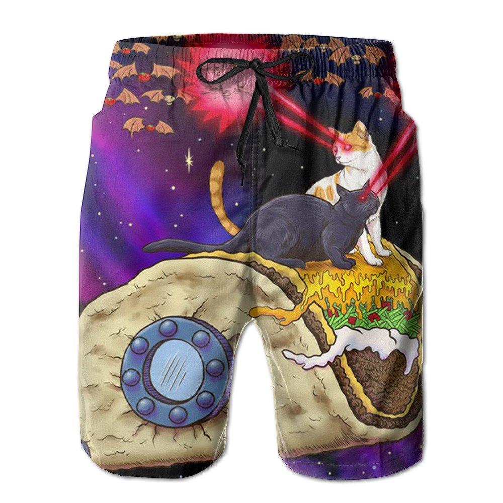 Pitsa7m Mens Space Taco Laser Cat Quick-Drying Swim Trunks Beach Shorts
