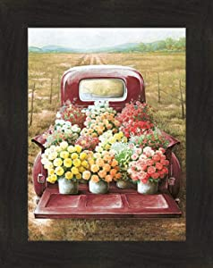 Flowers for Sale by Dee Dee 16x20 Classic Vintage Old Red Truck Flower Pots Garden Farm Framed Art Print Wall Décor Picture (2