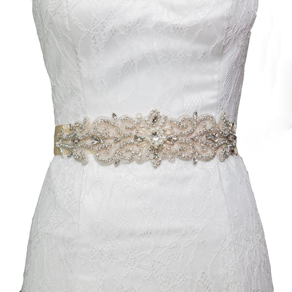 Azaleas Womens Crystal Beaded Sash Belts Wedding Belt Sashes for Wedding (Black) at Amazon Womens Clothing store: