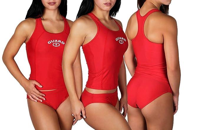 abb1bb3084 Amazon.com: Adoretex Women's Lifeguard Two Piece Xtra Life Lycra Tankini  Swimsuit: Sports & Outdoors