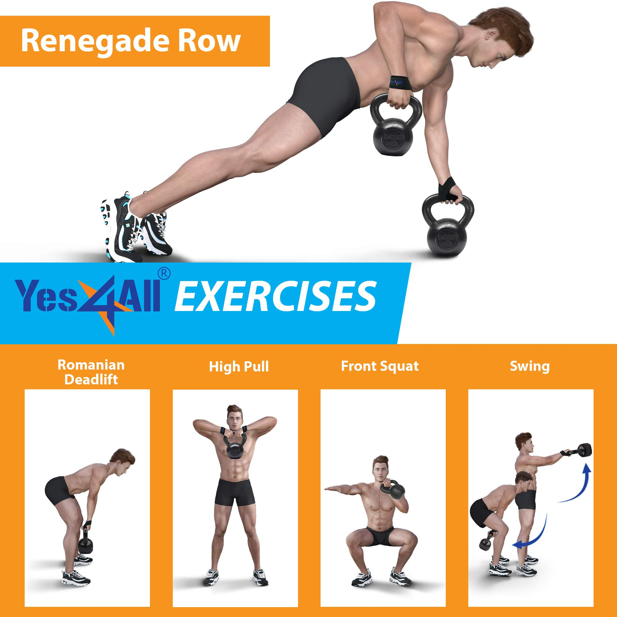 Yes4All Solid Cast Iron Kettlebell Weights Set – Great for Full Body Workout and Strength Training by Yes4All (Image #8)