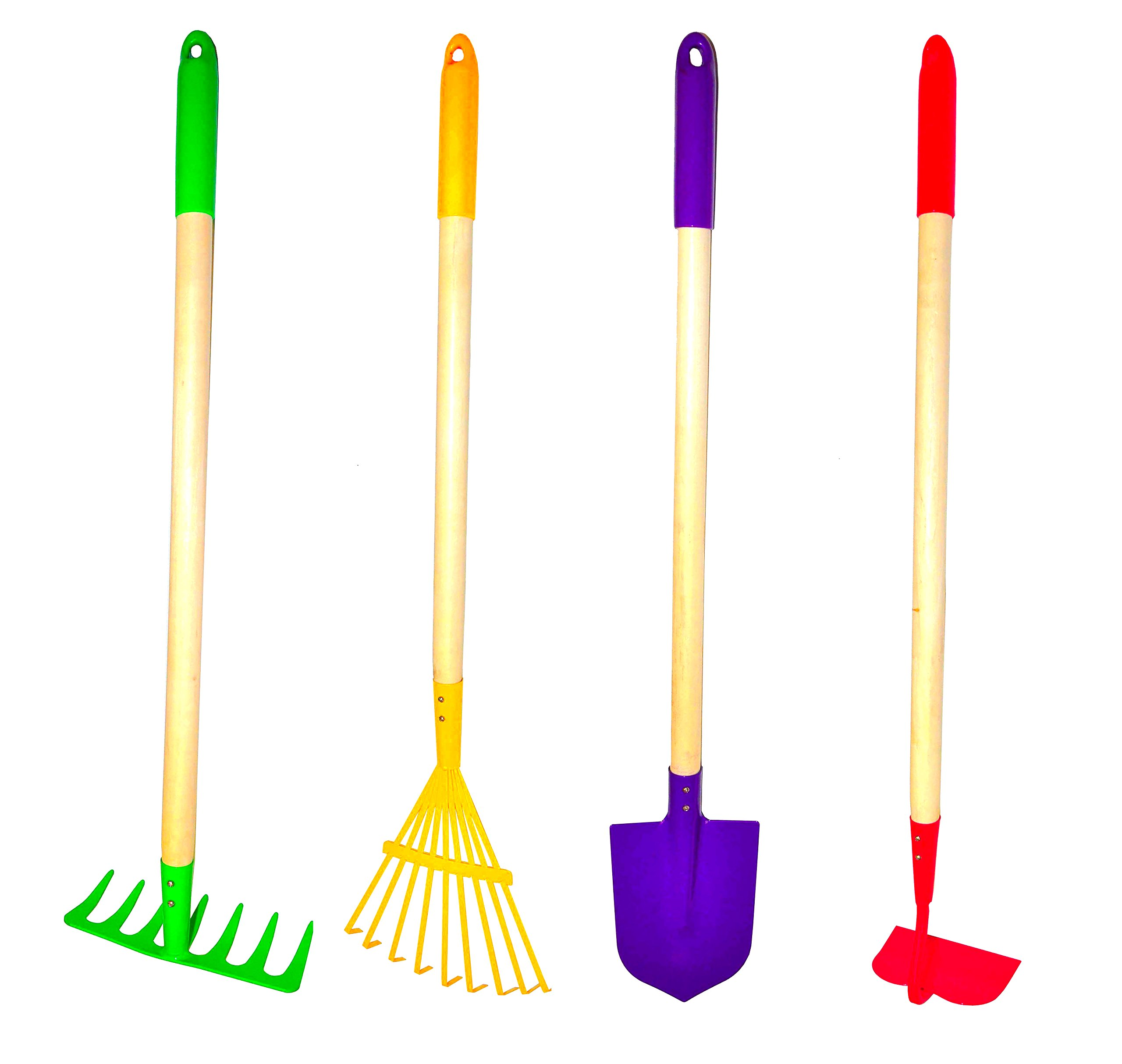 Kids 4 piece garden tools set rake shovel hoe leaf for Large rake garden tool