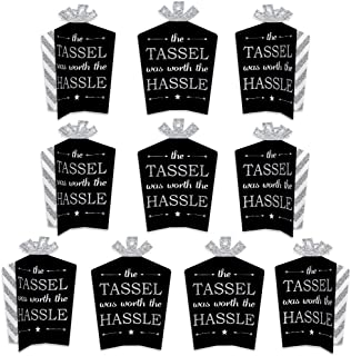 product image for Big Dot of Happiness Silver - Tassel Worth The Hassle - Silver - Table Decorations - Graduation Party Fold and Flare Centerpieces - 10 Count