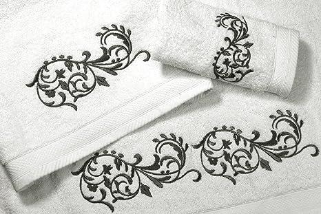 Juego de Toallas Bordadas 2 piezas 550gr ORNAMENT Nº7 (Blanco)
