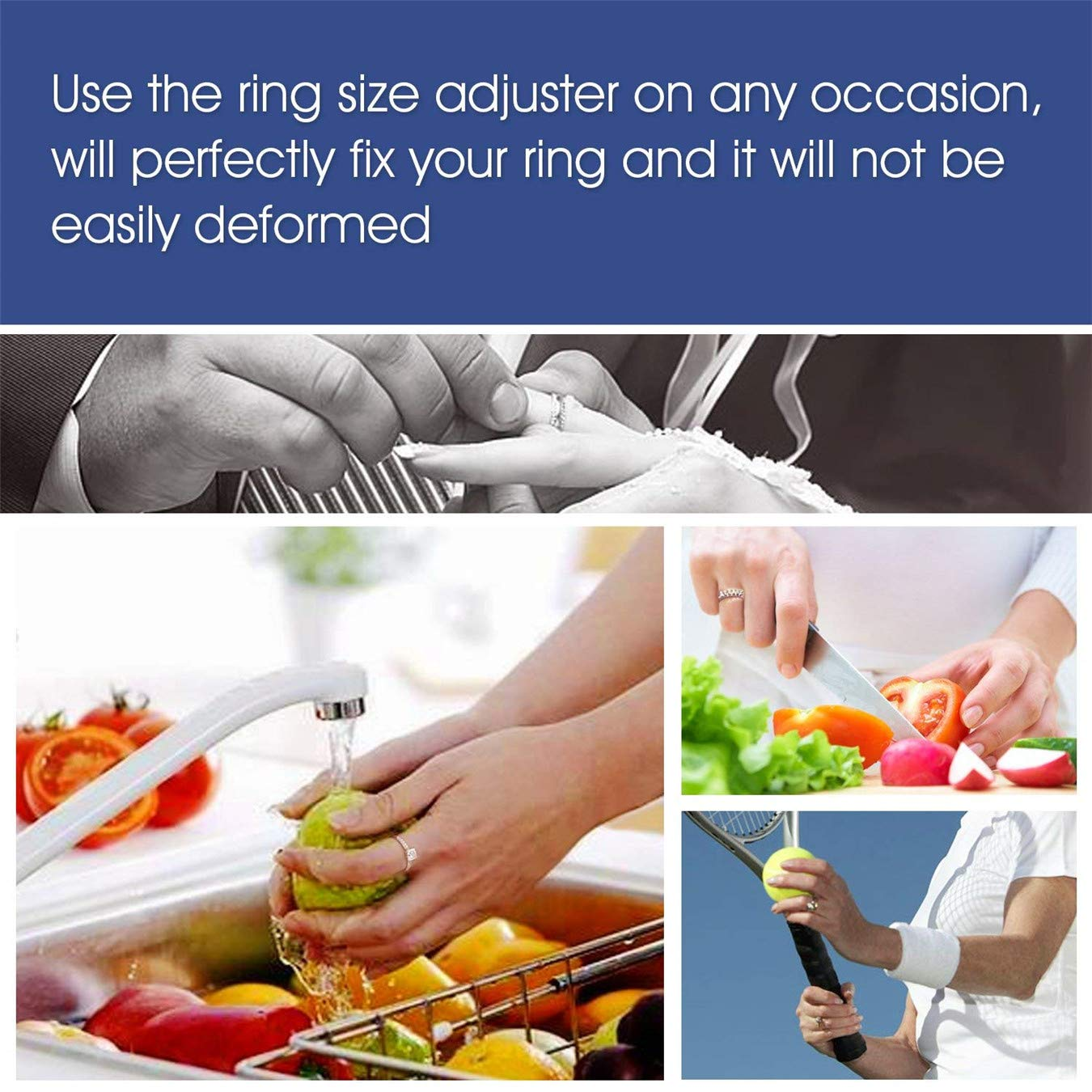 Yeasing Ring Size Adjuster Invisible Transparent Silicone Guard Clip Snug for Loose Rings Jewelry Sizer Tightener Resizer 4 Sizes Fit Almost All Fingers 6 Pcs