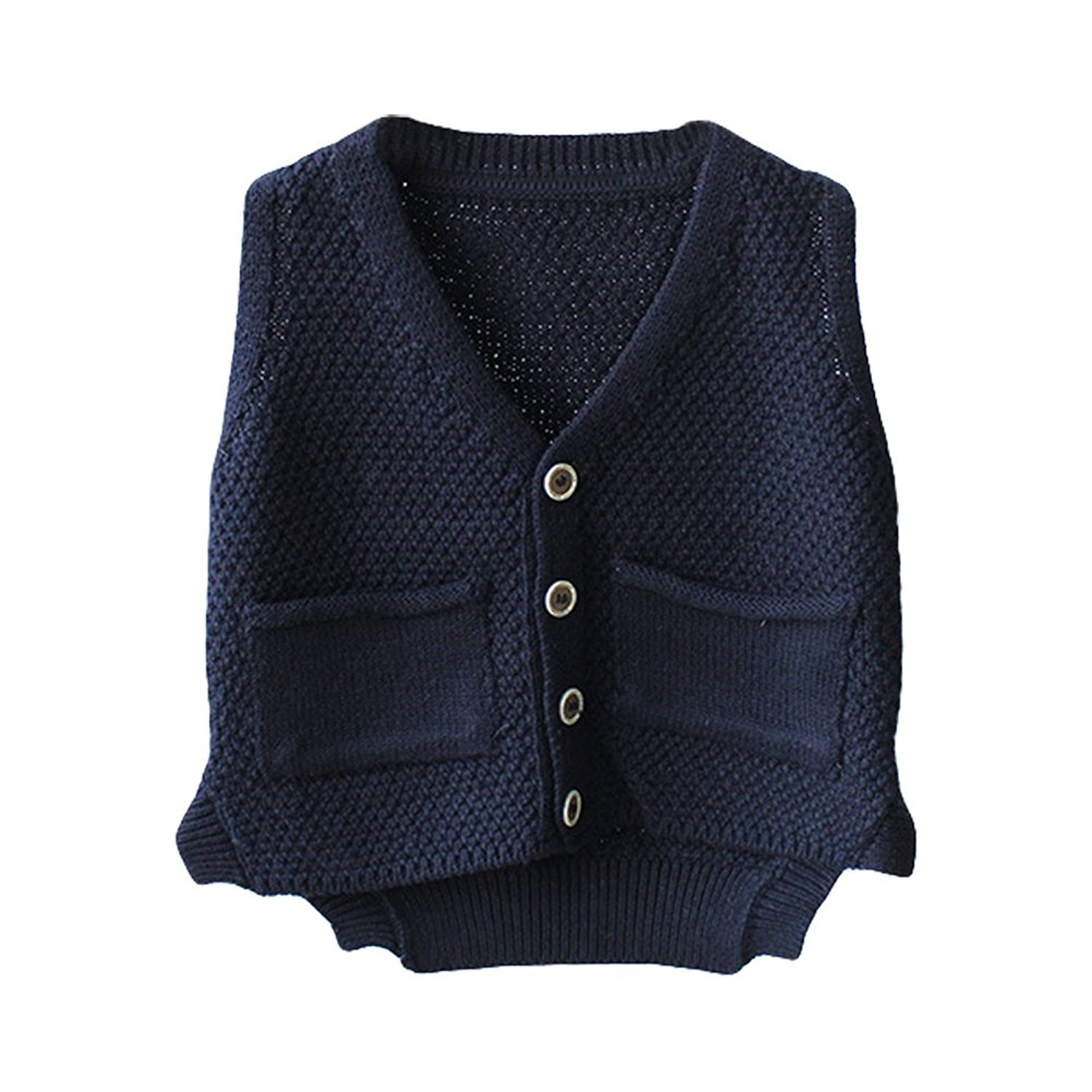 Unisex Baby Boys Girls Cute Knit Sweater Vest Kids V Neck Cardigan Waistcoat Jacket with Pockets