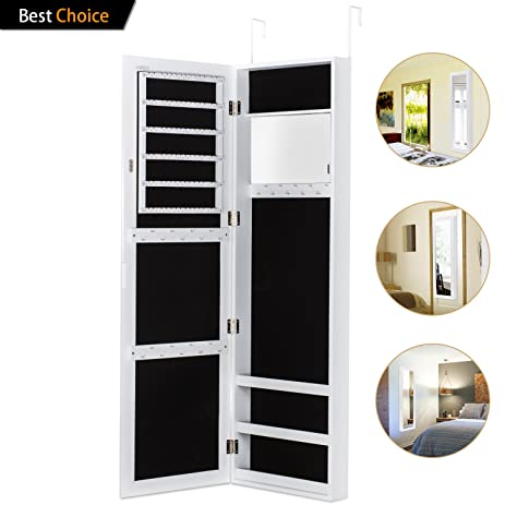 Amazon.com: Jewelry Armoire with Mirror Door or Wall Mounted Jewelry ...