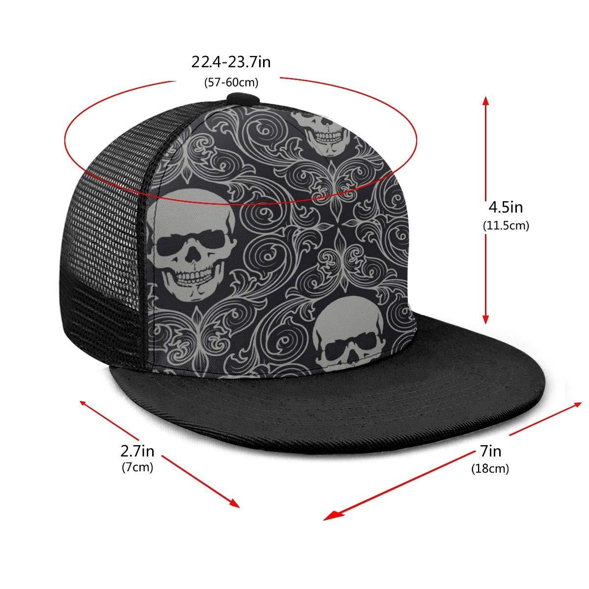 Breathable Trucker Mesh Cap for Unisex Unisex 100/% Polyester Skull Drawing Gray Texture Mesh Cap