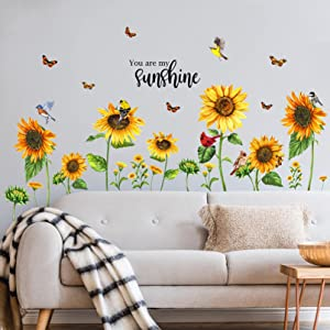 Yovkky You are My Sunshine Fall Sunflowers Wall Decal, Peel Stick Autumn Birds Butterfly Sticker Nursery Flower Cardinal Decor, Home Living Room Decorations Kids Bedroom Playroom Art Party Supply Gift