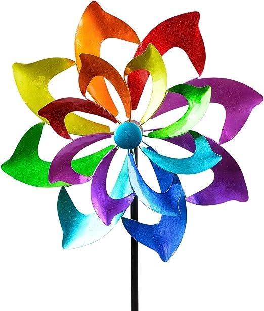 dekojohnson - Molinillo de viento para el jardín de metal, diseño de flores, doble morado, azul, rojo y verde, 130 cm: Amazon.es: Jardín