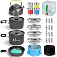 Odoland 29pcs Camping Cookware Mess Kit, Non-Stick Lightweight Pots Pan Kettle, Collapsible Water Container and Bucket…
