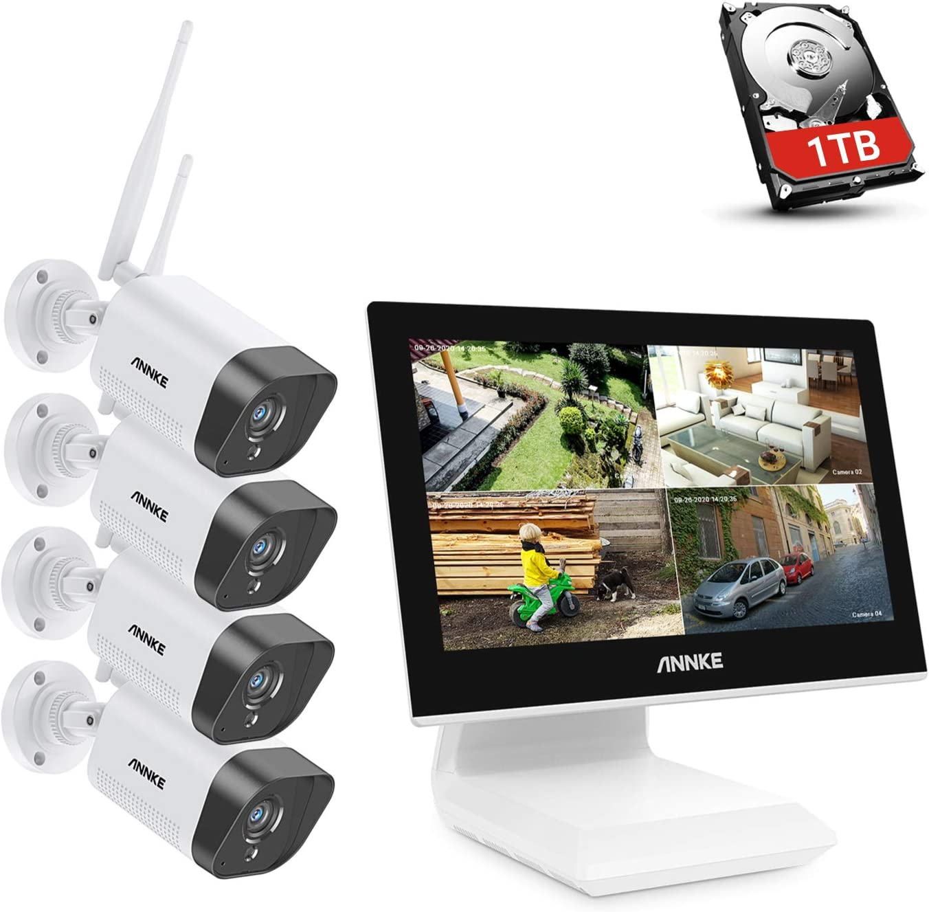 ANNKE WLAN ÜberwachungsKamera 5MP NVR Mit Mikrofon 1080P Kameras Monitor Motion