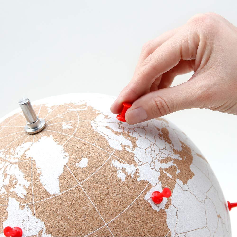 Vos Aventures et Vos Souvenirs Grand SUCK UK SK CORKGLOBE5 Globe Blanc Large en li/ège Punsaisez Vos Voyages Bois
