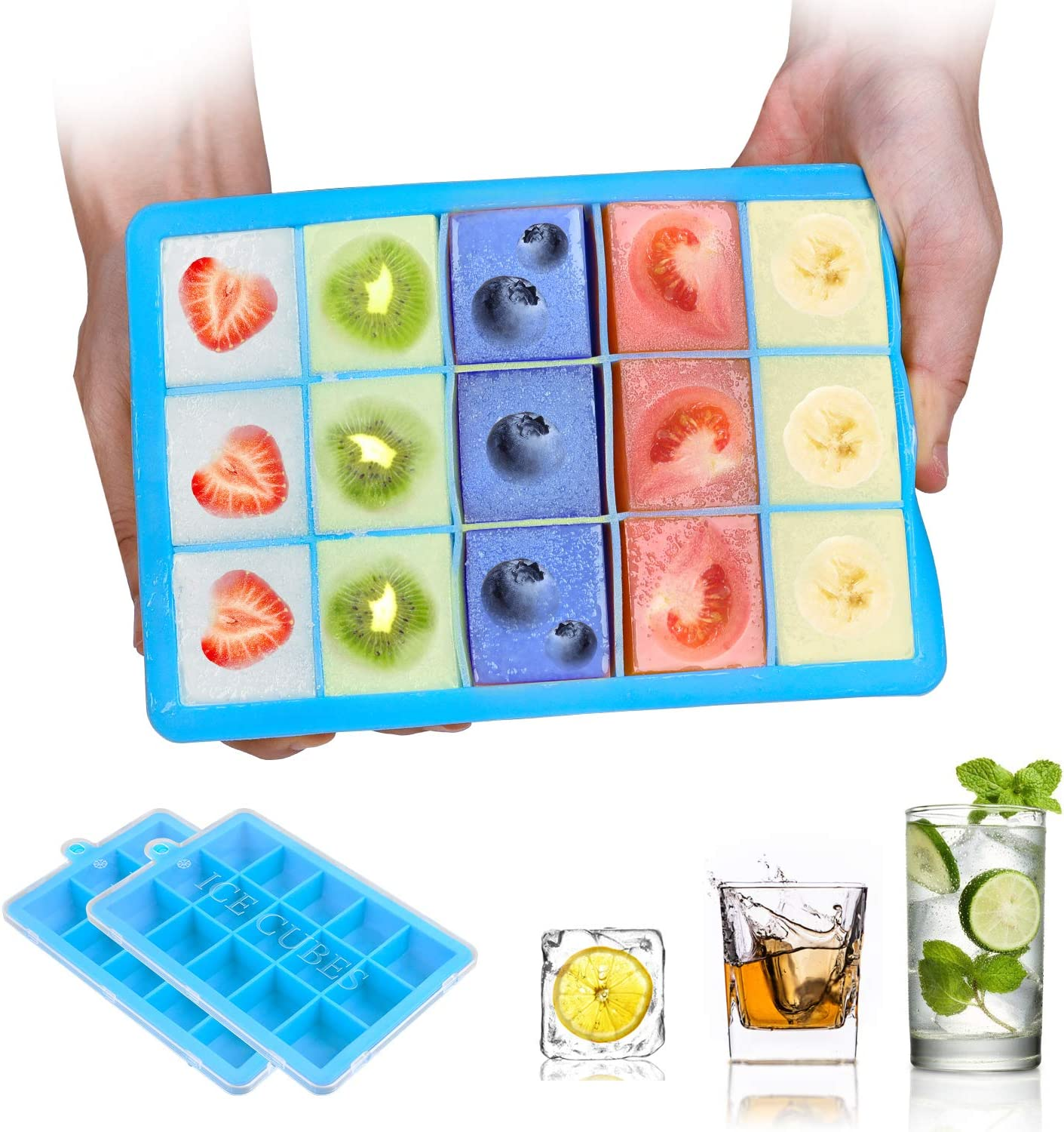 Ice Cube Trays,BomStar 2-Pack Silicone Ice Cube Molds with Lid Food Grade Silica Gel Flexible and BPA Free with Spill-Resistant Removable Lid Ice Cube Molds for Chilled Drinks, Whiskey & Cocktails