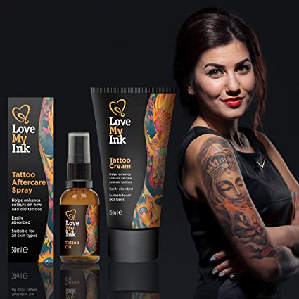 Love My Ink Tattoo Cream, Tattoo Oil, and Tattoo Aftercare Spray ...