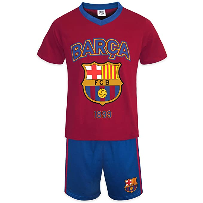 FC Barcelona Official Soccer Gift Boys Short Pajamas Red Blue 2-3 Years