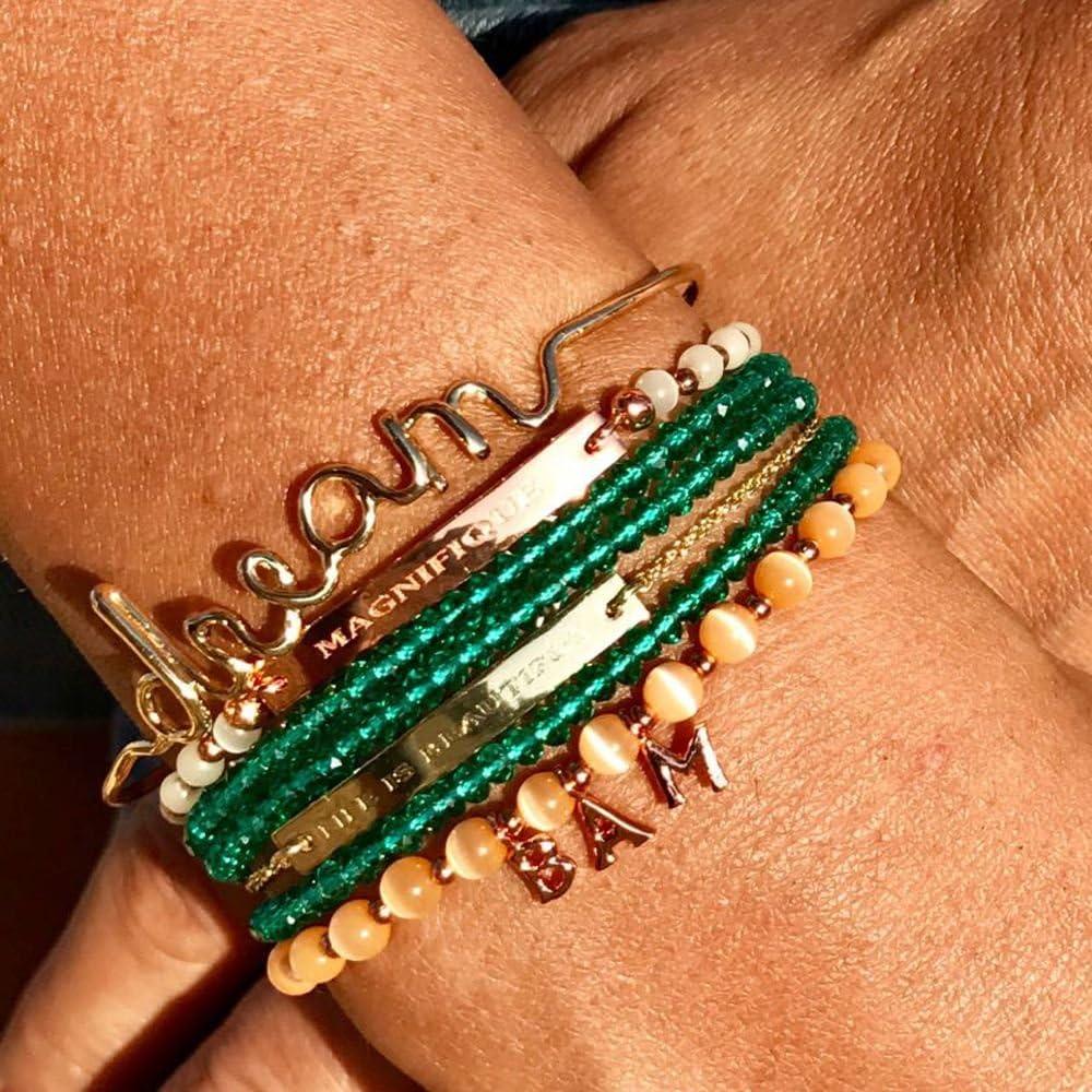 Maman Mes-bijoux.fr Bracelet Fil Lettering en Laiton Dor/é
