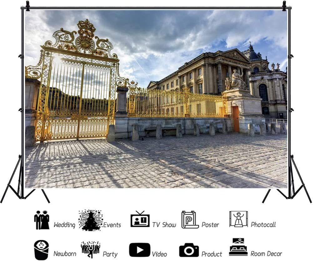 YEELE 12x8ft Ancient Attraction Backdrop Royal Gates of Versailles Palace in France Photography Background Scenic Spot Tourist Attractions Holiday Travel Kids Adults Artistic Portrait Photoshoot Props