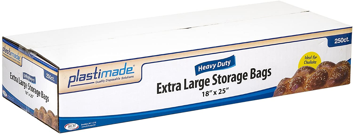 "Plastimade Premium Heavy Duty Disposable Plastic Extra Large Storage Bags, 250 Bags, Great for Home, School, Office, Traveling, Food Prep, Or Any Storage Needs (18"" X 25"")"