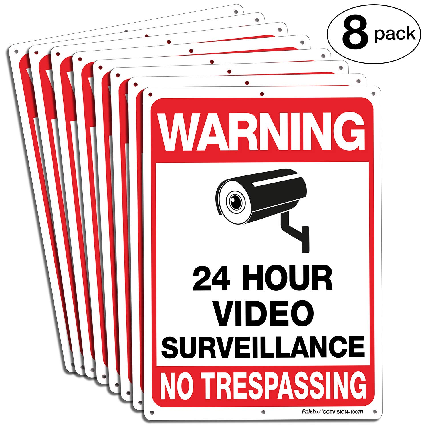 Faittoo 8-Pack Video Surveillance Sign, No Trespassing Metal Reflective Warning Sign, 10x7 Inches 0.40 Aluminum Indoor Or Outdoor Use for Home Business CCTV Security Camera,UV Protected & Waterproof by Faittoo