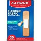 All Health Flexible Fabric Adhesive Bandages, 3/4 in, 30 Count | Flexible Protection for First Aid and Wound Care