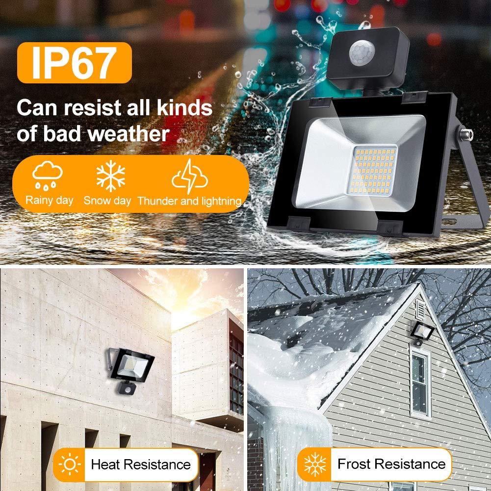 Garaje Bodega y Patio 100w Foco led exterior con Sensor Movimiento 3000K blanco C/álido,luz led para Jard/ín Led Proyector para Exterior Iluminaci/ón Decoraci/ón alto brillo 10000lm IP 65