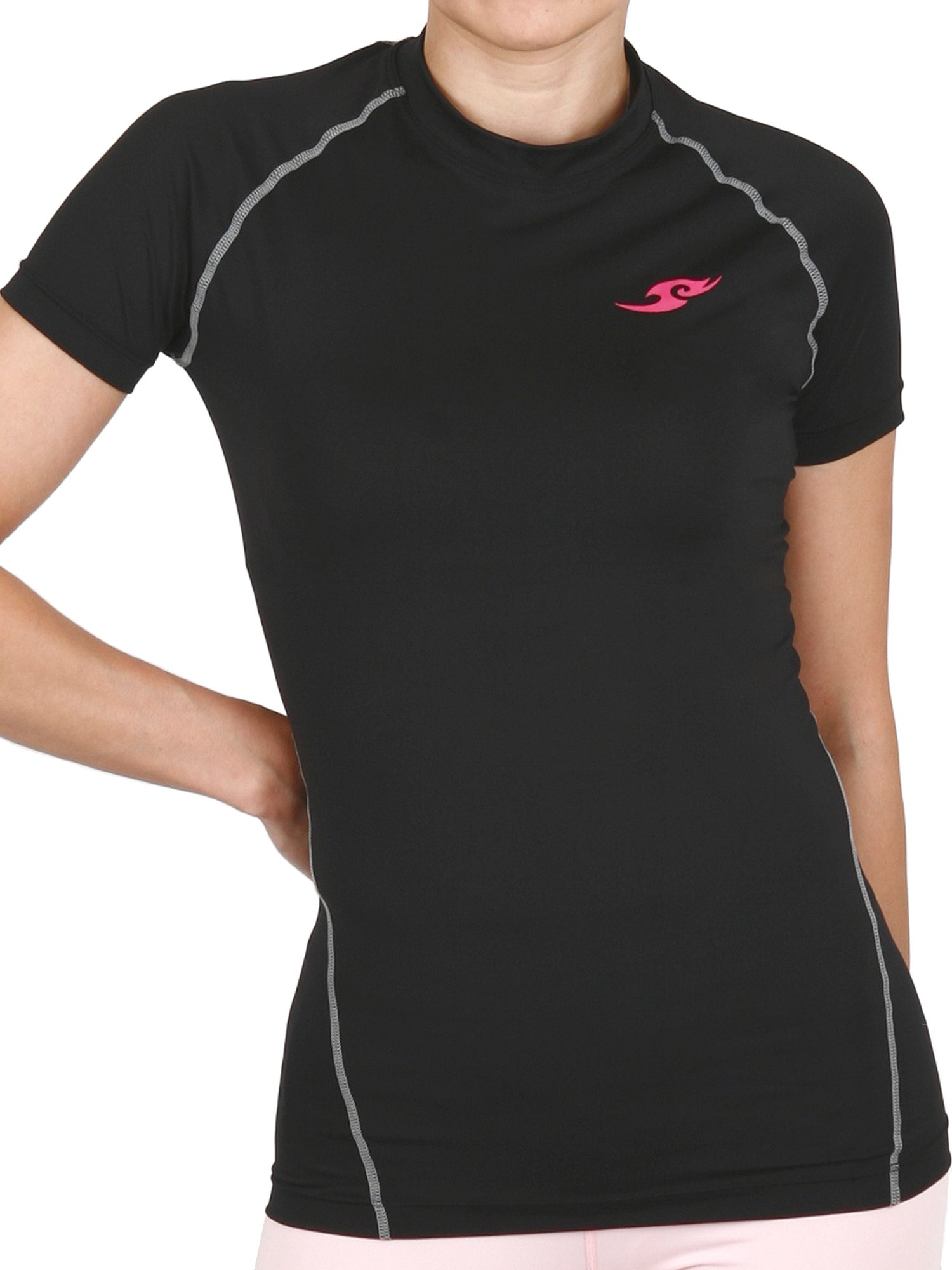 New 098 Womens Skin Tight Compression Baselayer T Shirt Short Sleeve Black (S)