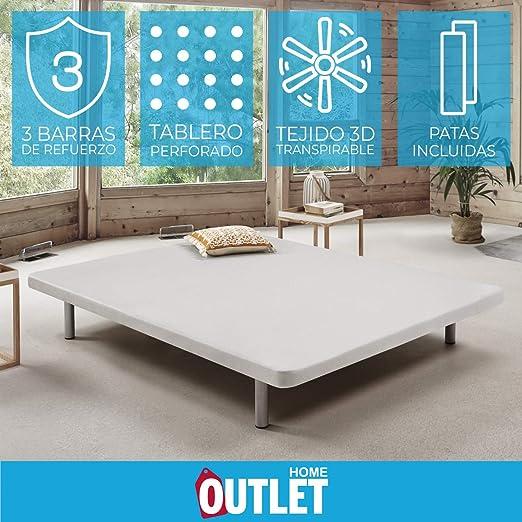Komfortland Base tapizada 3D One Medida 90x190 cm Color Blanco (Patas 25 cm - Normales de Regalo)