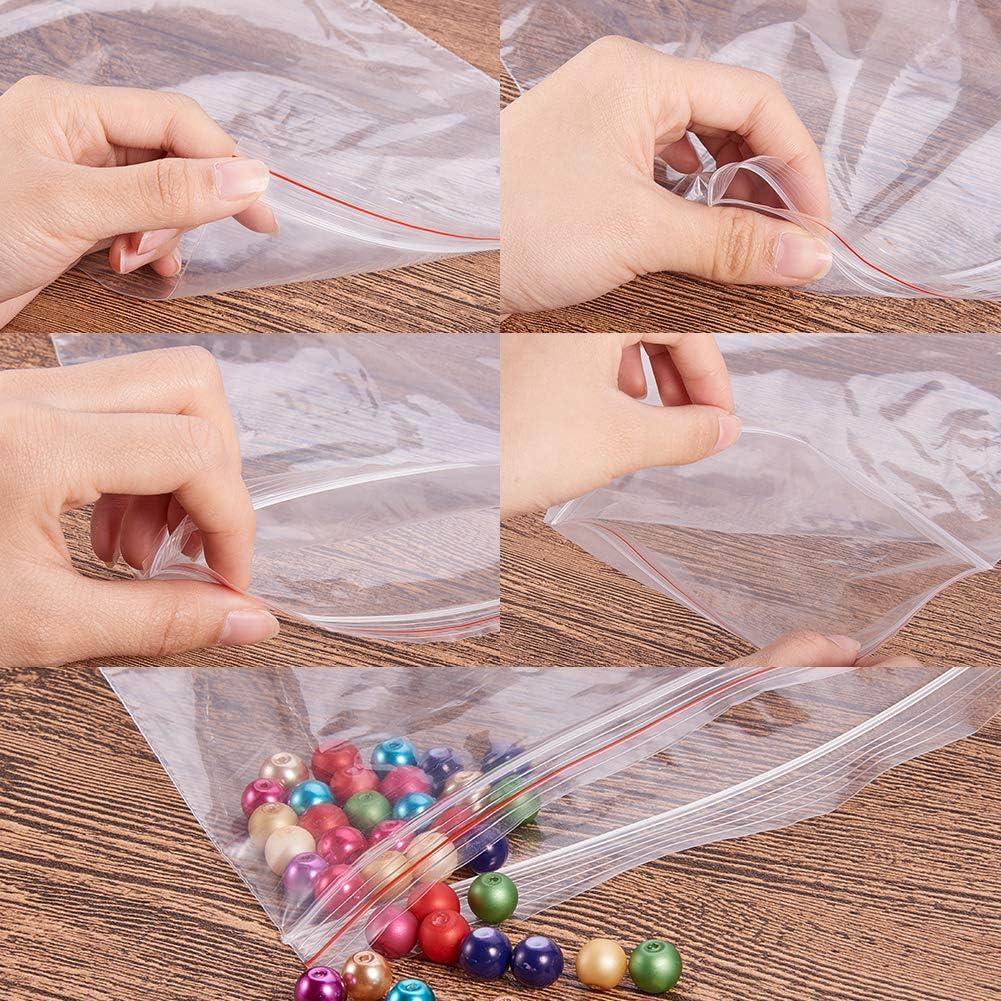 0.06mm PandaHall Lot de 500 Pcs Sachets Plastiques Zip a Fermeture Transparent 40x30mm Epasseur