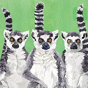 Paperproducts Design 1252726 Beverage Napkin, Patti Gay/Two Can Art, Lemur Amigos