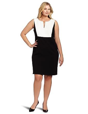 Calvin Klein Womens Plus Size Colorblock Dress Black 18w At