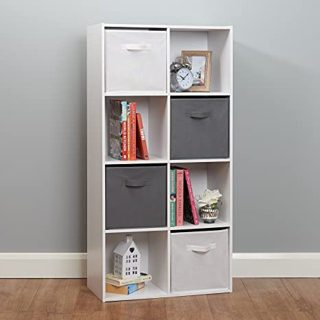 new style 38fd7 b3871 Roost White 8 Cube Storage Unit - White & Grey Baskets