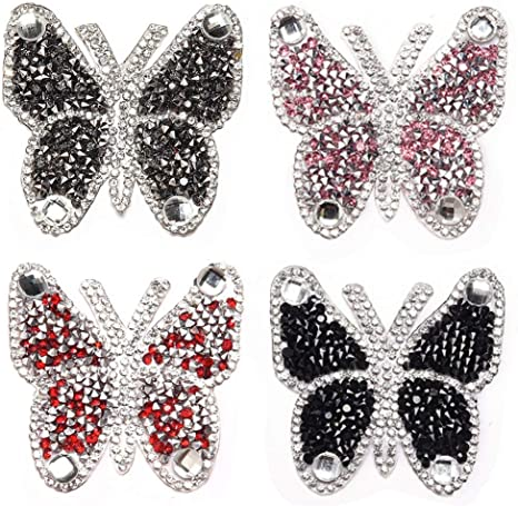 Butterfly Embroidery Sequin Sew//Iron on Rhinestone Patch for Garment Decor
