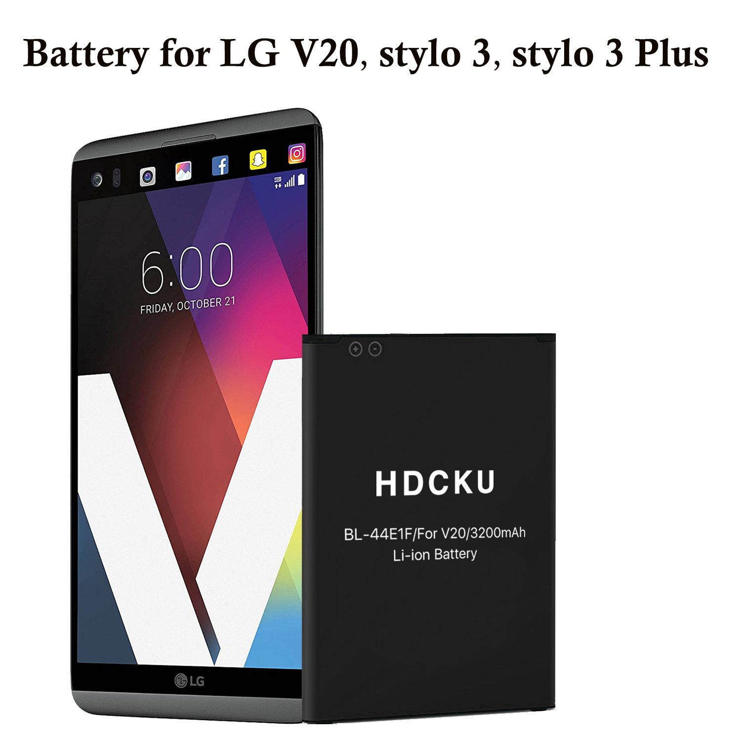 HDCKU Replacement Battery for LG V20, LG Stylo 3, LG Stylo 3 Plus BL-44E1F Spare OEM Battery(12 Month Warranty)