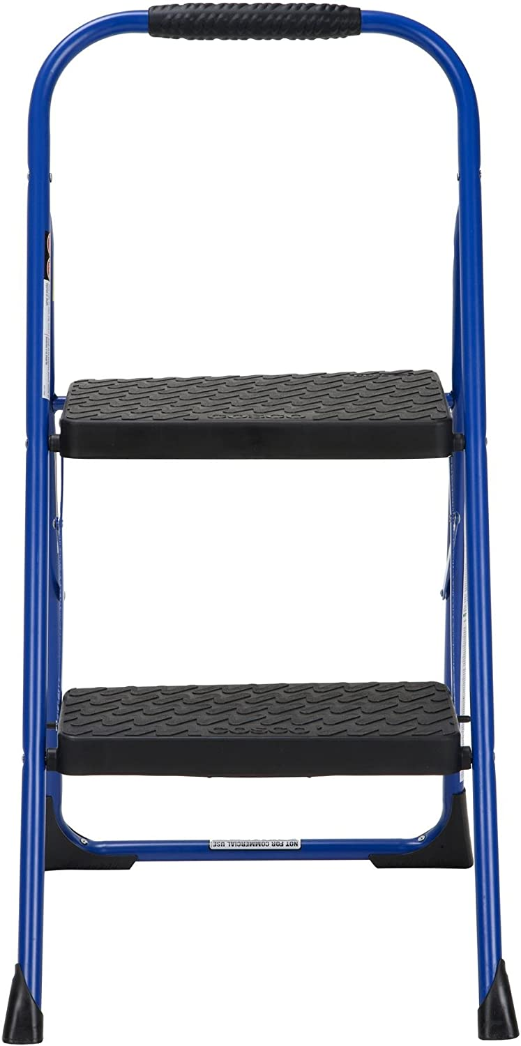 Cosco 11308SWB1E Two, Blue Three Big Folding Step Stool with Rubber Hand Grip