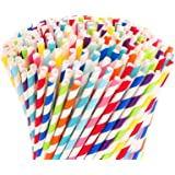 Hiware 500-Pack Biodegradable Bulk Paper Straws - 10 Different Colors Rainbow Stripe Paper Drinking Straws - Paper…