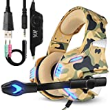 Camo Headset, PS4 Headset with Microphone,Over Ear Headphones for Xbox one Laptop PC with LED Light, Bass Surround, Friction-