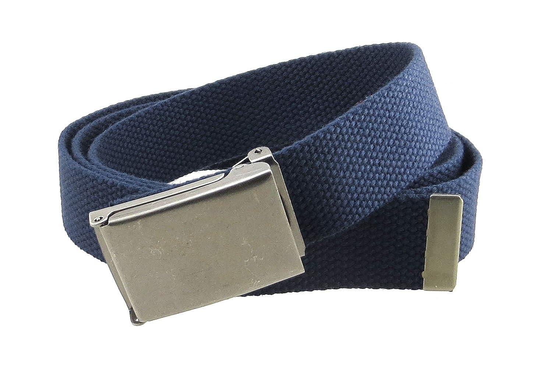 863cf16c96d33 Canvas Web Belt Flip-Top Antique Silver Buckle/Tip Solid Color 50