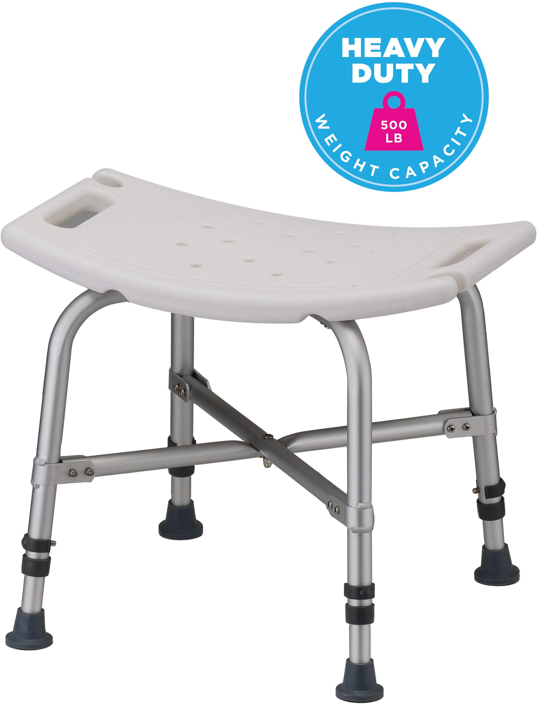 NOVA Heavy Duty Shower & Bath Chair, 500 lb. Weight Capacity, Quick & Easy Tools Free Assembly, Lightweight & Seat Height Adjustable, Great for Travel by NOVA Medical Products