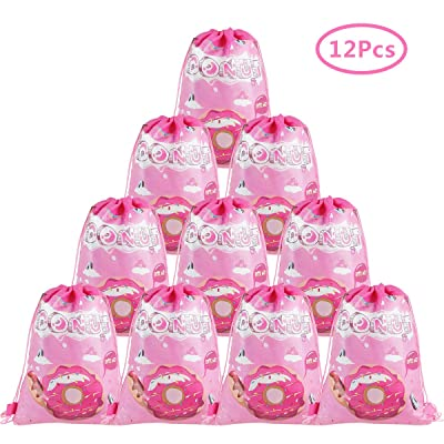 Cieovo 12 Pack Donut Party Favor Goody Gift Bags, Treat Gift Drawstring Bag Donut Backpack for Donut Grow Up Theme Birthday Baby Shower Party Decoration Supplies: Toys & Games