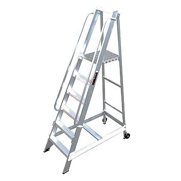 Ladders-Online resistente 10 escalera aluminio Warehouse paso - doble barandilla para mayor seguridad - Ideal acción de precisión para maquillaje y paso: ...