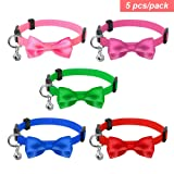 PET ARTIST Bell Cat Collar with Bow Tie, Set of 5