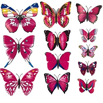 Chitop (12 Pcs/Lot PVC 3D Magnet Butterfly Wall Stickers - Butterflies Decors for